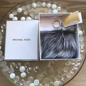 Michael Kors Large Fur Pom Pom Silver Black